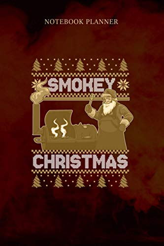 Notebook Planner BBQ Santa Grilling Roast On Smoker Ugly Smokey Christmas Swea: Notebook Journal, Personal, Meeting, Hourly, Diary, 6x9 inch, To Do List, 114 Pages