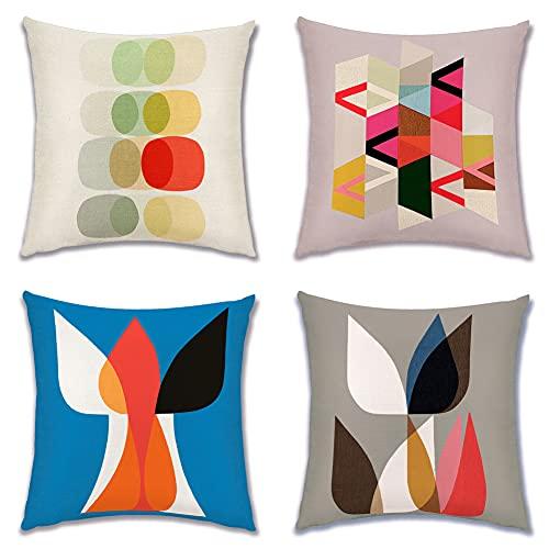 Artscope Juego de 4 fundas de cojín decorativas para sofá, coche, dormitorio, 45 x 45 cm (patrón geométrico colorido)