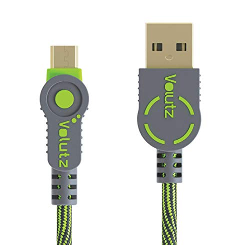 Volutz Micro USB Kabel, 2m nylonummanteltes Ladekabel, Quick Charge & Sync für PS4, Xbox One Android Geräte, Samsung, Huawei, HTC, Sony u.v.m. - Moosgrün [Armorcord]