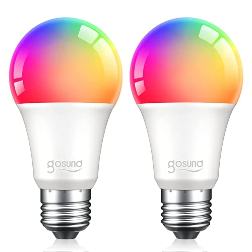 Smart Bulb, Dimmable Multicolor Light Bulbs Work with Alexa and Google Home, RGB Color Changing Warm White Music Sync LED Bulbs A19 E26 75W Equivalent, 2.4GHz WiFi Only, No Hub Required, 2 Pack