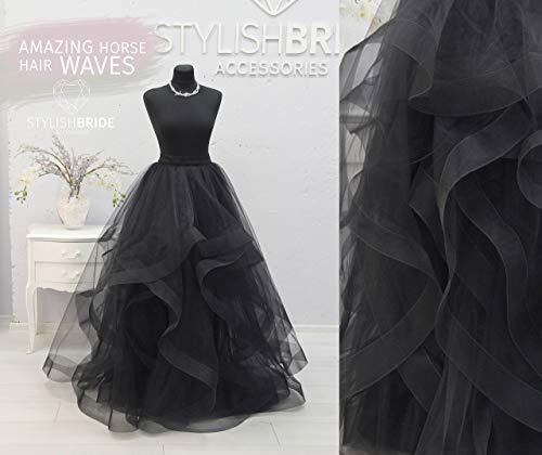 Horsehair Black Swan Wave Tulle Skirt Women's New Year, Tulle Skirt Party, Women Tulle Skirt Engagement Black Tulle Skirt Black Tulle Skirt