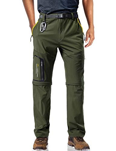 MAGCOMSEN Waterproof Pants for Men Hiking Pants Work Pants Summer Pants Slim Fit Climbing Pants Travel Pants Camping Pants Quick Dry Pants Men Green