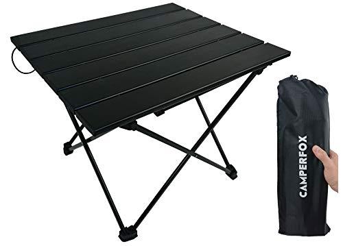 CamperFox Campingtisch faltbar - Kleiner tragbarer Klapptisch aus Aluminium - L-40cm, B-34,5cm, H-32cm - 1kg - super für Camping, Radtouren, Picknick, Fischen, Camper, Wohnmobile