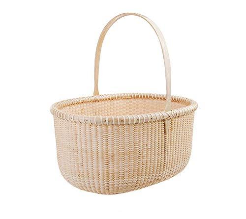 STARAYS Picknickkorb, Ovaler Handgemachter Aufbewahrungskorb Für Reiseurlaub Kurzurlaube, 36 * 29 * 18Cm