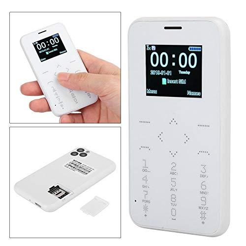 Wosune Tarjeta de teléfono, teléfono móvil de Bolsillo para Estudiantes, Pantalla de Alta definición para niños en la Escuela al Aire Libre(White)