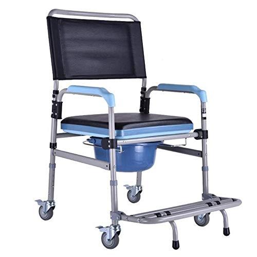 WYX Duschkabine mit Rollen, gepolsterter Badesessel für ältere, behinderte und behinderte Nutzer, Toilette für das Badezimmer-Bad, Mobile Kommode, Sit & Bathe