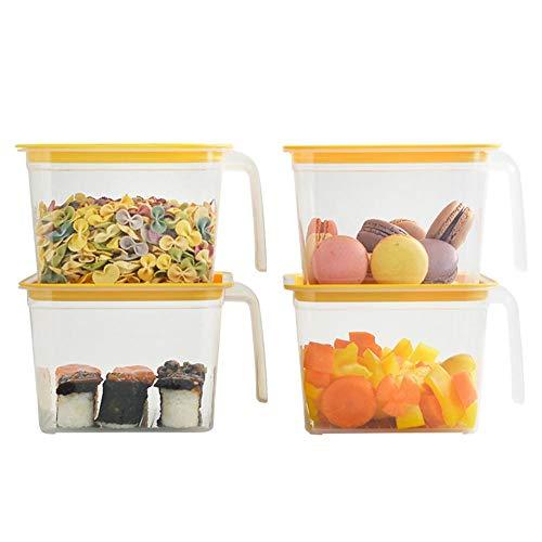 Verloco Opbergdozen, 4 stuks, voor levensmiddelen, verzegeld, keuken-koelkast, ei-box, polypropyleen, antislip en eenvoudig te houden voor groenten, rijst, noten, snacks