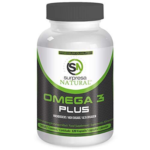 Surpresa Natural® - Omega 3 Fischöl Kapseln hochdosiert 1000 mg | 500 mg EPA und 250 mg DHA pro Kapsel | 120 Kapseln aus nachhaltigem Fang | Hergestellt in Deutschland