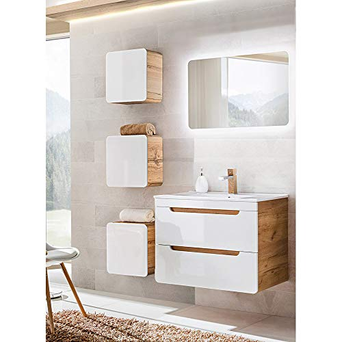 Lomadox Badmöbel Set Hochglanz weiß, Wotaneiche, mit 80cm Keramik-Waschtisch, LED-Spiegel und 3 Hängeschränken