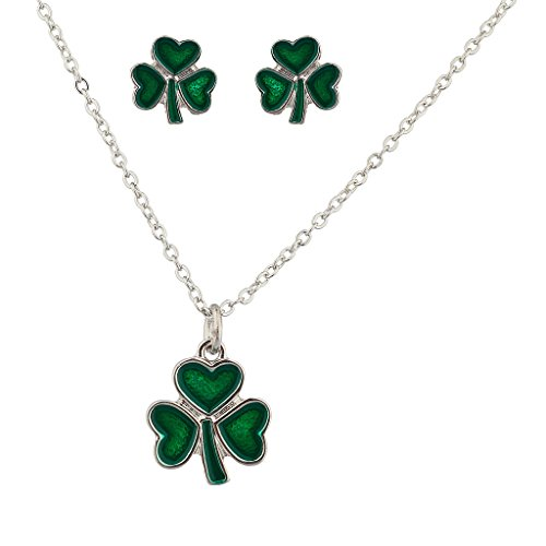Lux Accessories Three Leaf Heart Clover Saint St Patricks Day Necklace Matching Earrings