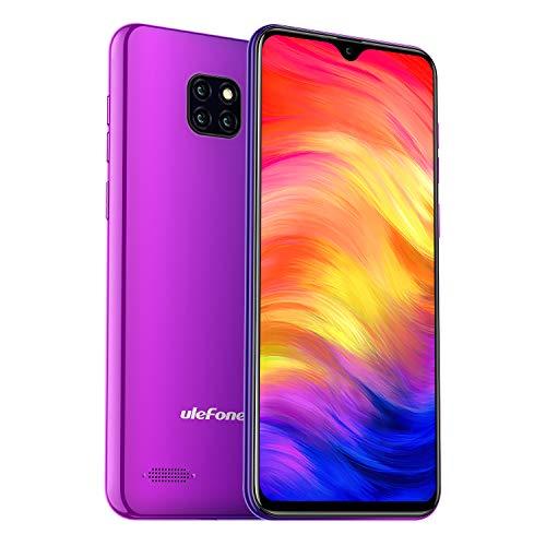 Ulefone Note 7 Smartphone Android 9.0 Handy, 16GB interner Speicher, 15,49cm (6,1 Zoll) Display, 8MP+2MP+2MP Rückkamera, DuaL SIM, Face ID - Twilight