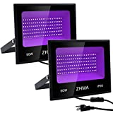 ZHMA 60W LED Black Light,Purple Flood Light with Plug,Party Lights,for Blacklight Party,Fluorescent Party,Black Light Posters for Room,Body Paint,Glow in The Dark Paint,Curing [2-Pack]
