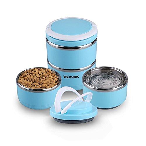 Portable Comedero y Bebedero para Viaje Acero Inoxidable Bowl Kit para Perros y Gatos Cuenco para Agua y Comida Prueba de Derrames Contenedor de Alimentación para Viajes al Aire Libre (3 en 1) (Dos)