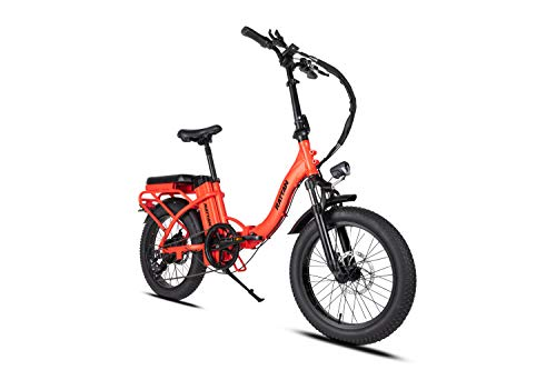 Rattan 500W 20'' Folding Electric Bikes for Adults,Ebikes with 48V/13AH Removable Lithium Battery,7 Speed Brushless Motor.Intelligent Design with Display and LED Light. (Red)