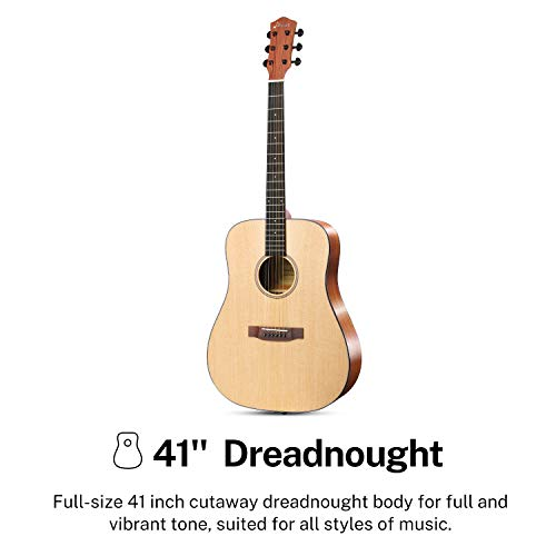 Donner Acoustic Guitar for Beginner Adult Full Size Dreadnought Acustica Guitarra Starter Bundle Kit with Gig Bag Strap Tuner Capo Pickguard String 4 Picks Cloth, Right Hand 41 Inch Natural, DAG-1