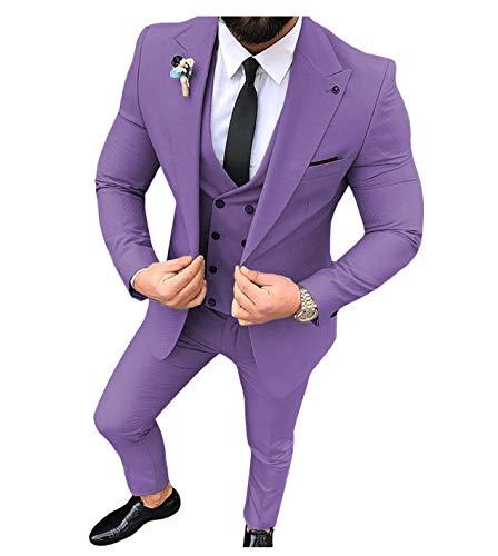 Traje de hombre de 3 piezas, ajustado, para hombre (azul + chaleco + pantalones) morado 38