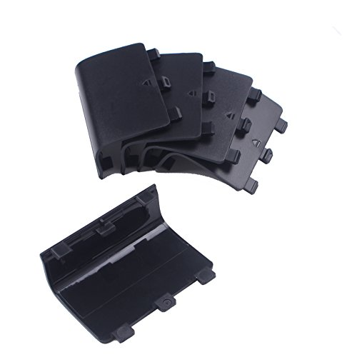 BIHRTC Pack of 5 Black Replacement Battery Cover Shell Repair Part for Xbox One Wireless Controller