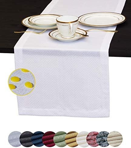 White Table Runner 90 inch Waterproof Dresser Scarf Outdoor Coffee Table Runner Elegant Dining product image