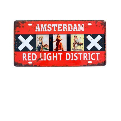 PotteLove Amsterdam Auto License Plaat Vintage Metalen Borden Tin Plaque Muurposter voor Garage Man Cave Cafe Bar Pub Bier Patio Home Decor