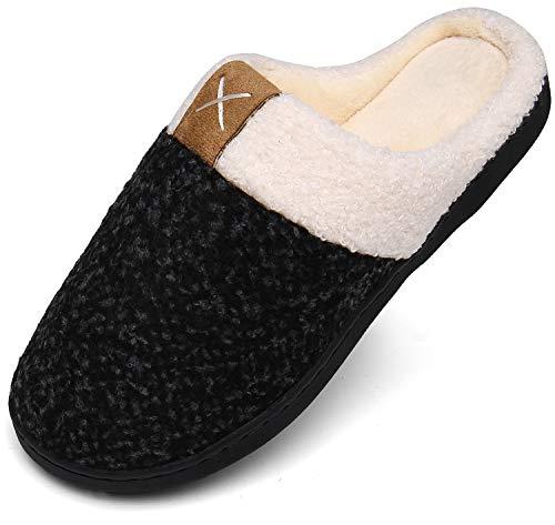 Winter Hausschuhe Damen Memory Foam Plüsc Pantoffeln Frauen Warm rutschfeste Slippers für Indoor & Outdoor Schwarz Gr.38/39 EU