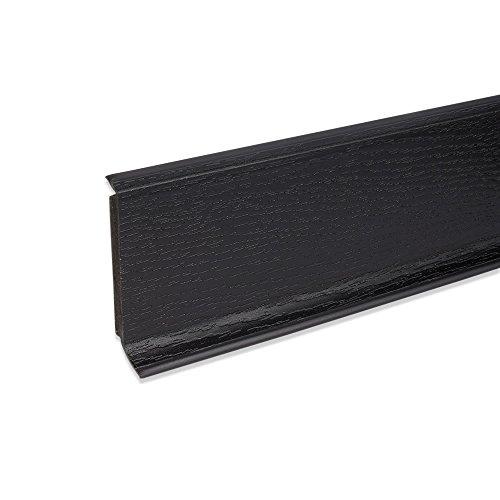 Hartschaum-Sockelleiste Fußbodenleiste aus Kunststoff in Schwarz 2500 x 60 x 15 mm