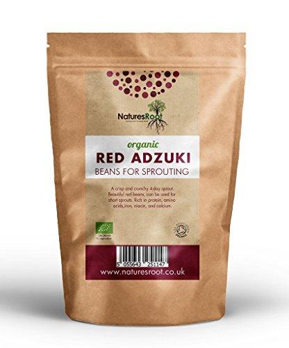 Natures Root Bio Adzuki-Bohnen - zum Kochen verwendet Sprießen von Samen | Süß-Nussiger Geschmak (250g)