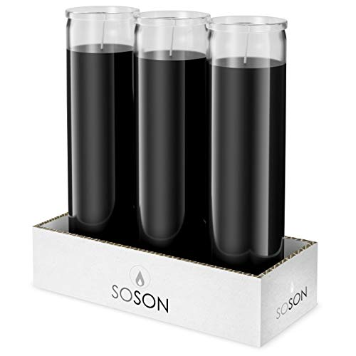 Simply Soson 2x8 Black Candles | Prayer Candles | Church Candles | Meditation Candles | Religious Candles | 7 Day Candle | Spiritual Candle | Chakra Candles | Emergency Candles | 3 Pack of Candles