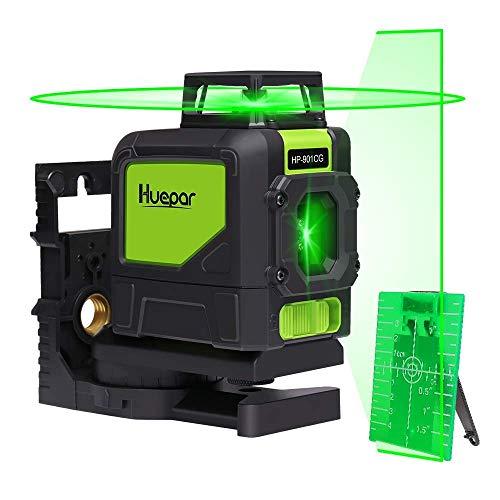 Huepar Self-Leveling Laser Level, 130Feet Green Beam Cross Line Laser Tool, 360-Degree...