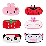 6 Pack Cute Pencil Case, MERYSAN Cartoon Plush Pencil Pen Pouch with Zipper for Girls Boys School Stationery Organizer Cosmetic Bag - 7.87 x 3.94 inches (Version 2)