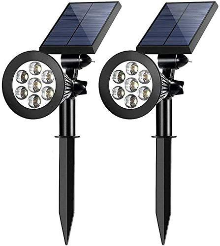 Focos solares al aire libre 2 en 1 de color ajustable 7 LED Impermeable Luces de árbol de seguridad Césped Paso Pasarela Jardín Cambio y luces de color fijas (Multicolor 2 piezas)