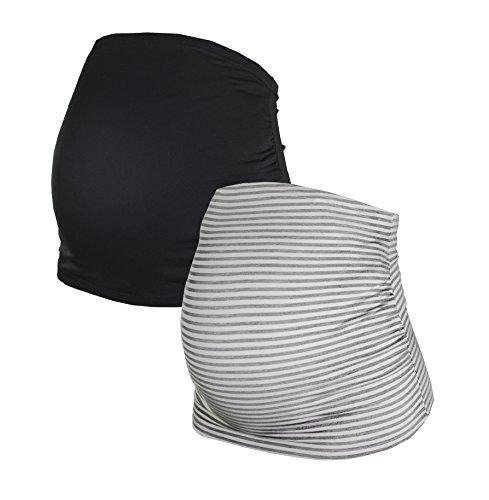 Herzmutter Bauchband für Schwangere - 2er-Set - Baumwolle - Umstands-Schwangerschafts-Bauchbänder - Nieren-Rückenwärmer-Shirtverlängerung - Einfarbig-Gestreift - 6000 (Schwarz/Gestreift, L, alt)