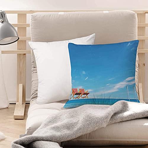 Funda de Cojines Suave Poliéster,Decoración de la casa, piscina con sillas de playa Sillón ,Funda de Almohada Cremallera Oculta Duradero Decoración para Sofá Cama Dormitorio Aire Libre Oficina 45x45cm