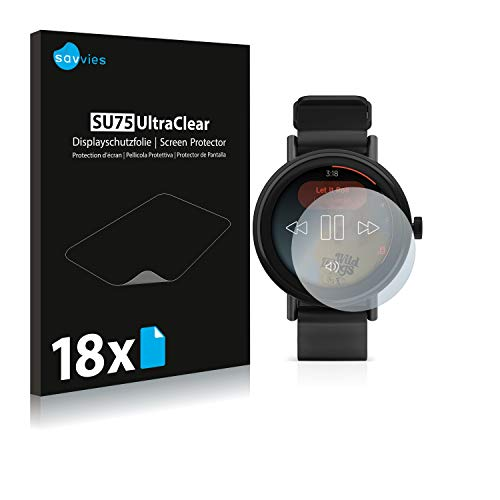 Savvies 18x Schutzfolie kompatibel mit Misfit Vapor 2 (41 mm) Bildschirmschutz-Folie Ultra-transparent