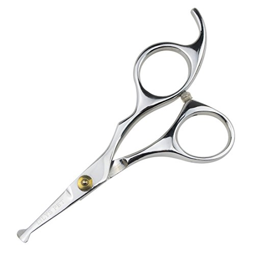 LILYS PET 5.0' Right-Handed Round-Tip Pet Grooming Scissors, Stainless Steel Small Ball Tip for Nose Hair,Ear Hair,Face Hair,Paw Hair for Dogs and Cats…