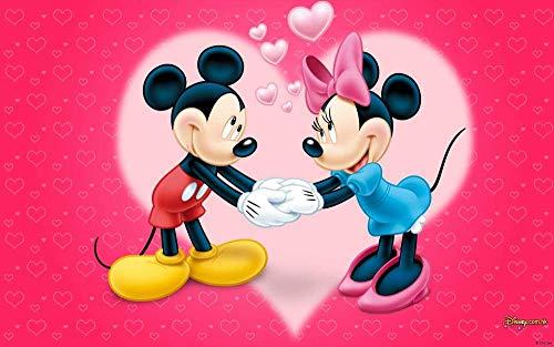 IUWAN Puzzles para Adultos Puzzle de 1000 Piezas - Póster de la Serie Mickey y Minnie - Juguete Educativo Intelectual de descompresión Divertido Juego Familiar para niños 38x26cm