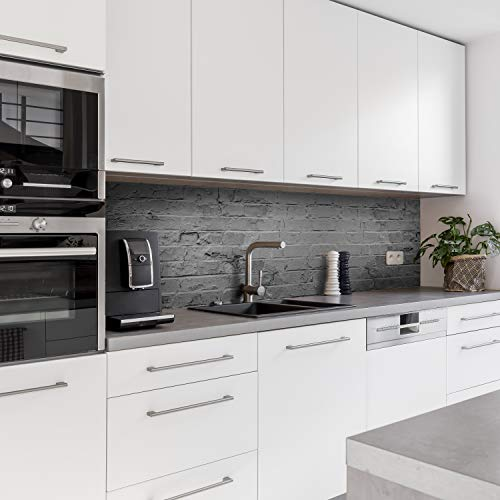 Dedeco Küchenrückwand Motiv: Stein V1, 5mm Hartschaum Kunststoffplatte PVC als Spritzschutz Küchenwand Wandschutz wasserfest, inkl. UV-Lack glänzend, alle Untergründe, 220 x 60 cm