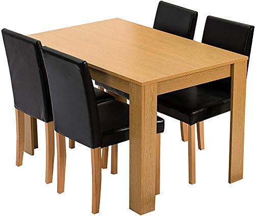 5-Piece Dining Room Set 4-Seater Dining Table with 4 Chairs, Oak Table, Black PU Leather Seats,Oak