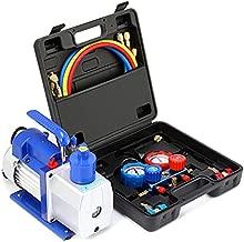 Orion Motor Tech AC Gauges and Vacuum Pump, 5CFM Vacuum Pump with Manifold Gauge Set, Evacuation & Recharging, Diagnostic 3 Way AC Gauge Set for R134a R22 R410a (Oil Not Included)