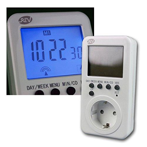 REV Zeitschaltuhr digital Steckdose weiß – Timer für den Innenbereich, IP20 – beleuchtetes, extra-großes Display für leichtes Programmieren der Schaltuhr – mit Countdown-Funktion