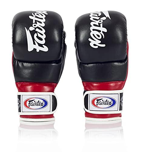 Fairtex FGV18 Super Sparring Grappling MMA Gloves (Black/Red, Small)