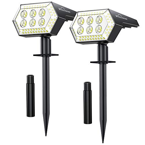 Solar Landscape Spotlights, Whousewe 108 LEDs Solar Spot Lights Outdoor with 4 Bright Modes, Wall & Ground Mounted, IP65 Waterproof, Cold White, 2 Pack