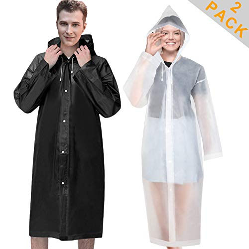 [2 Pack] EVA Rain Ponchos Reusable Raincoats with Hood and Sleeves for Women Men Adults, Lightweight Rain coat, Black + White