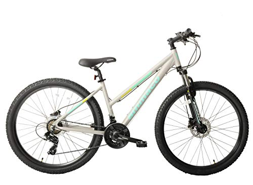 Ammaco. Osprey V2 27.5' Wheel Womens Ladies Mountain Bike Hydraulic Disc Brakes Hardtail Front Suspension 21 Speed 16' Frame Grey Green
