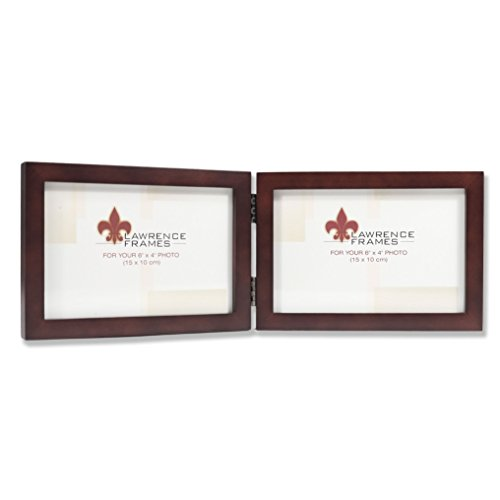 Lawrence Frames 755964D Espresso Wood Hinged Double Picture Frame, 6 by 4-Inch