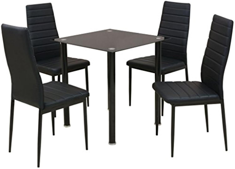 Festnight 5-tlg. Essgruppe Esstisch mit 4 Esszimmerstühle Küchentisch Essstuhl Küchenmbel Schwarz