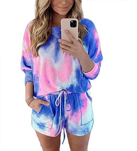 Womens Summer Tie Dye Lässige Short Set Outfits Rundhals Kurzarm T-Shirts 2-teiliges Short Sport Set S-XL