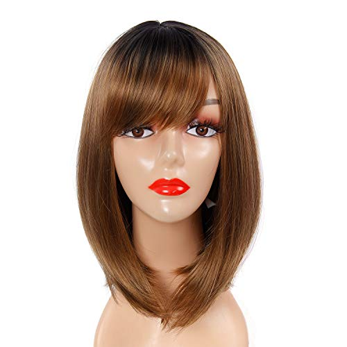 Bob Wig with Bangs 12 Inchs Straight Brown Wig Synthetic Cosplay Daily Party Wig for Women Natural Heat Resistant Wigs ,Ombre Brown Wig Natural As Real Hair (12inch, Brown)