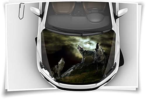 Medianlux Motorhaube Auto-Aufkleber Wölfe Wolfsrudel Wildnis Mond Tiere Steinschlag-Schutz-Folie Airbrush Tuning Car-Wrapping Luftkanalfolie Digitaldruck Folierung