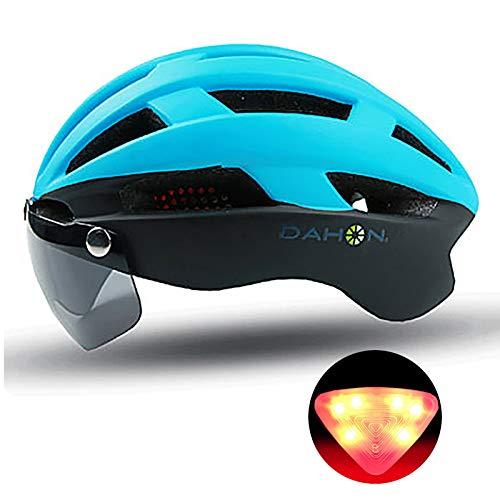QMMD Casco da Bicicletta Sicurezza Sport della Bici con Visiera Magnetica Staccabile Shield Casco da Bici con Luce LED Casco da Bicicletta Superleggero Regolabile 57-62 cm,Blu