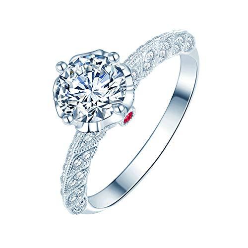 Daesar Anillo Oro Blanco 18K Mujer,Anillos de Plata Rojo Mujer Redondo 0.3ct Diamante Blanco Rubí Rojo 0.01ct Anillo Talla 28